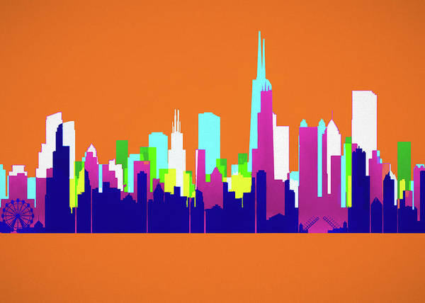 Wall Art - Painting - Chicago Pop Art Skyline by Dan Sproul