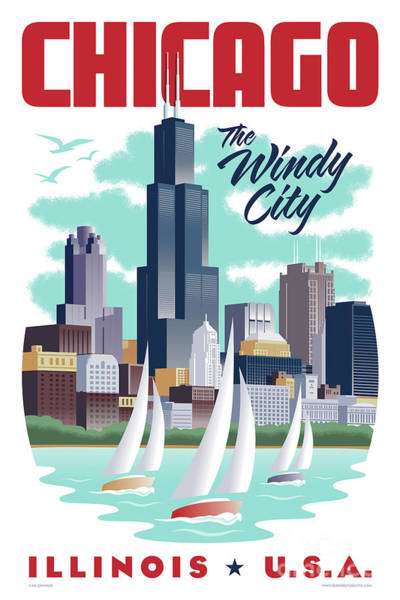 Wall Art - Digital Art - Chicago Poster - Vintage Travel by Jim Zahniser