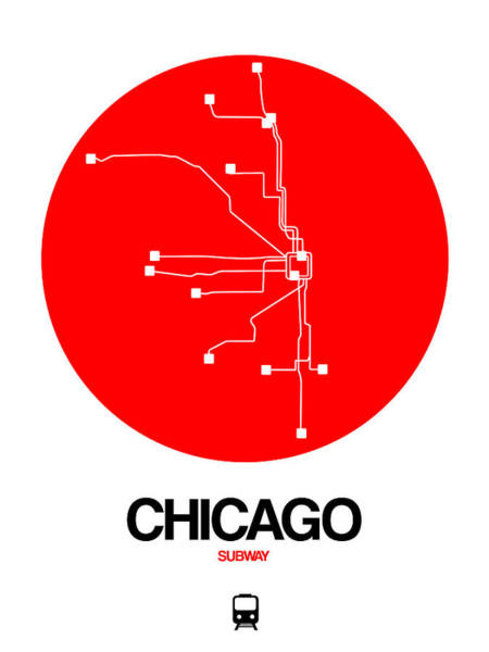 Wall Art - Digital Art - Chicago Red Subway Map by Naxart Studio
