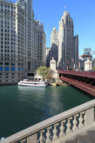Chicago Tribune Wall Art - Photograph - Chicago River And Dusable Bridge With by Amanda Hall / Robertharding