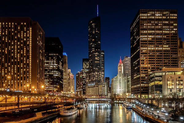 Photograph - Chicago River And Skyscrapers At Dusk by Sven Brogren