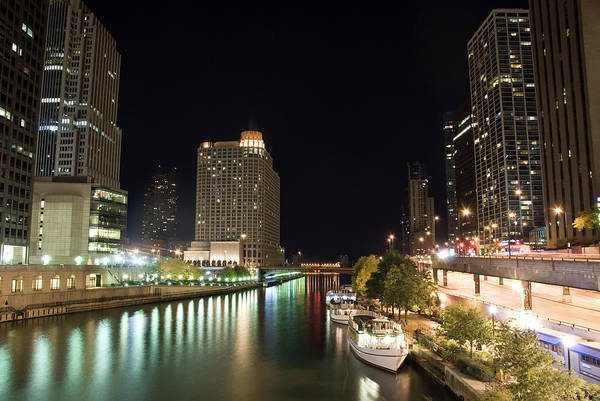 Boat Deck Photograph - Chicago River In The Night by Weible1980