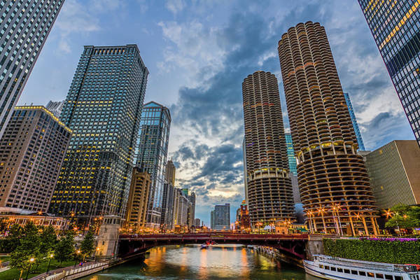Travel Destinations Photograph - Chicago River Sunset by Carl Larson Photography