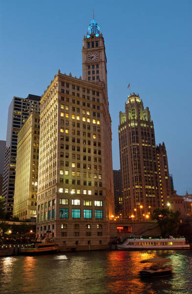 Chicago Tribune Wall Art - Photograph - Chicago River, Wrigley Building And by Ed Reschke