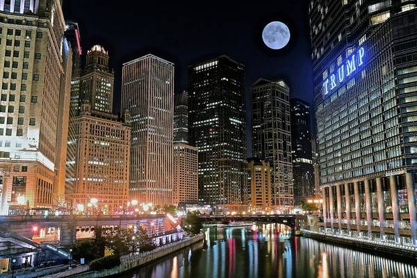 Wall Art - Photograph - Chicago Riverfront Trump And Full Moon by Frozen in Time Fine Art Photography