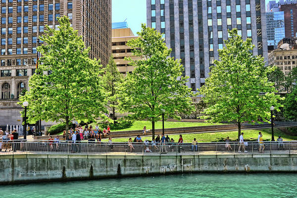 Photograph - Chicago Riverwalk Urban Park # 3 by Allen Beatty