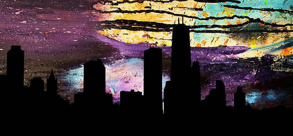Painting - Chicago Skyline Abstract by Marilyn Hunt