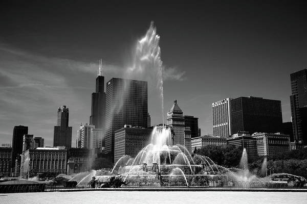 Photograph - Chicago Skyline And Buckingham Fountain Bw by Frank Romeo