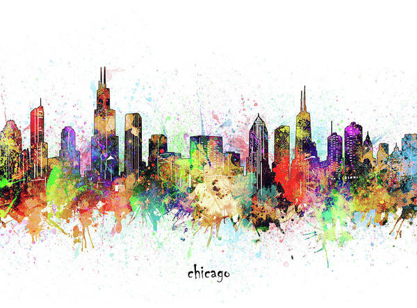 Wall Art - Digital Art - Chicago Skyline Artistic by Bekim M