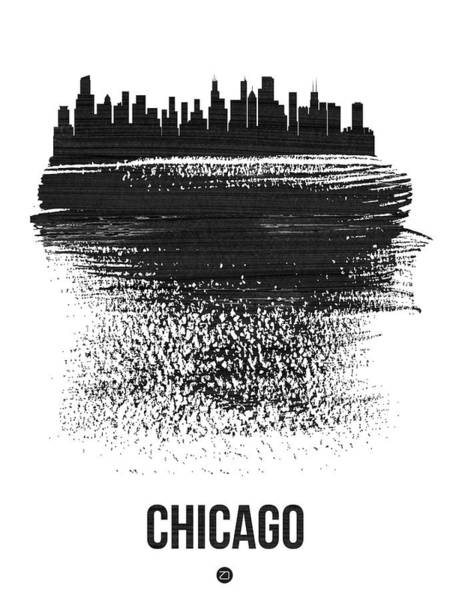 Travel Mixed Media - Chicago Skyline Brush Stroke Black by Naxart Studio