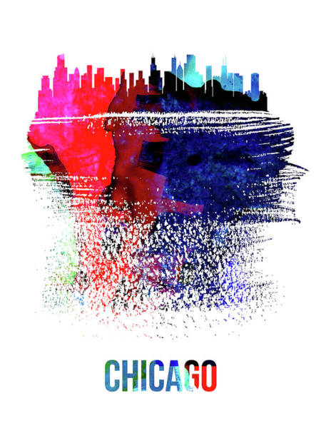 Travel Mixed Media - Chicago Skyline Brush Stroke Watercolor  by Naxart Studio