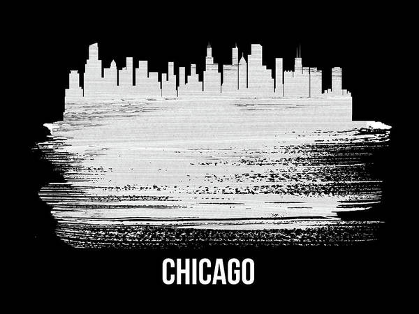 Travel Mixed Media - Chicago Skyline Brush Stroke White by Naxart Studio