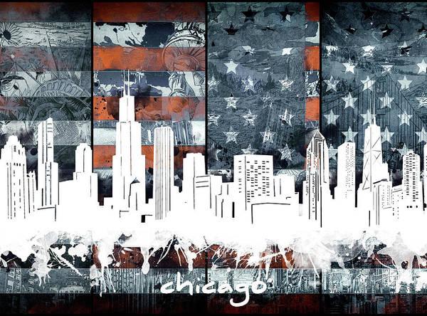 Chicago Skyline Flag 2 Art Print