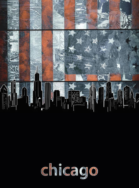 Chicago Skyline Flag 3 Art Print