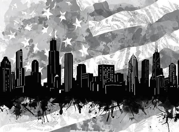 Chicago Skyline Flag Art Print