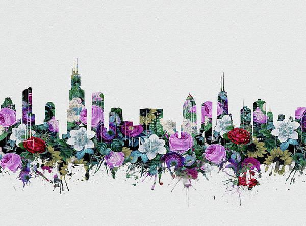 Chicago Skyline Floral Art Print