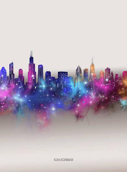 Wall Art - Digital Art - Chicago Skyline Galaxy by Bekim M