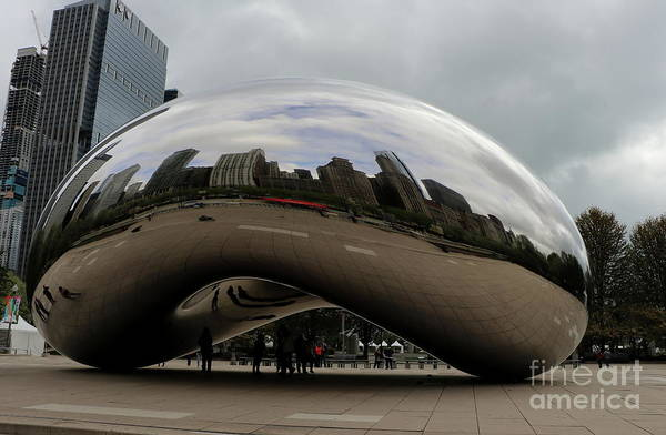 Wall Art - Photograph - Chicago Skyline In The Cloud Gate by Christiane Schulze Art And Photography