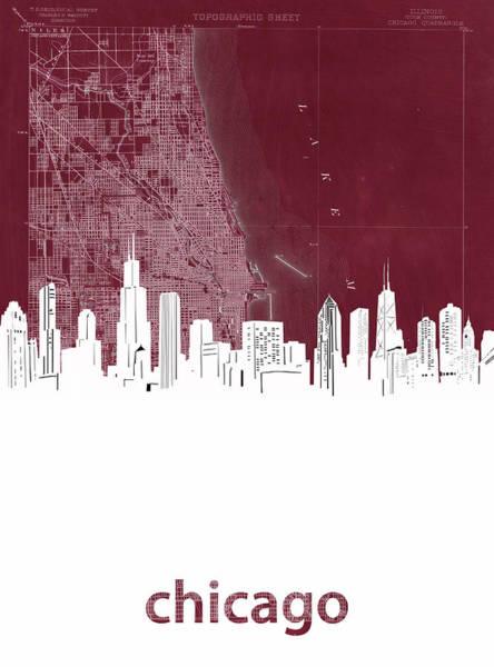 Chicago Skyline Map Red Art Print