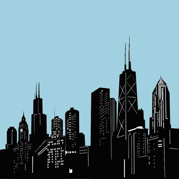 Chicago Skyline Panorama Blue 2 Art Print