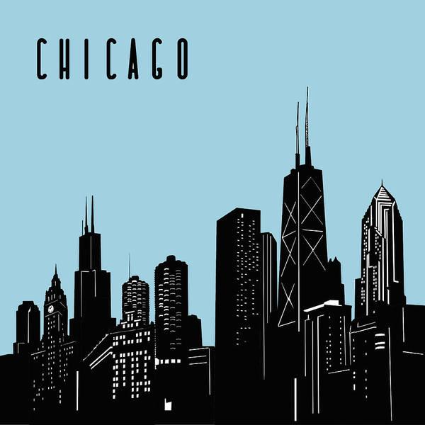 Chicago Skyline Panorama Blue Art Print