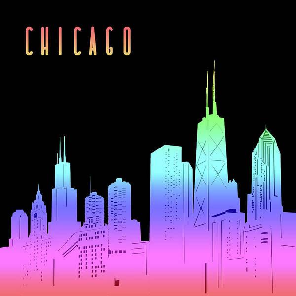 Chicago Skyline Panorama Rainbow Art Print