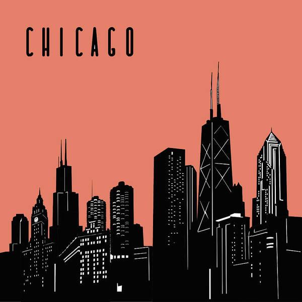 Chicago Skyline Panorama Red Art Print
