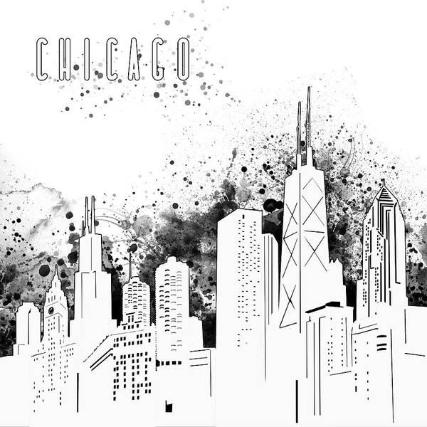Chicago Skyline Panorama White Art Print