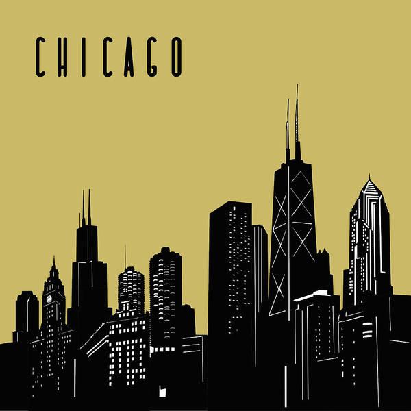 Chicago Skyline Panorama Yellow Art Print