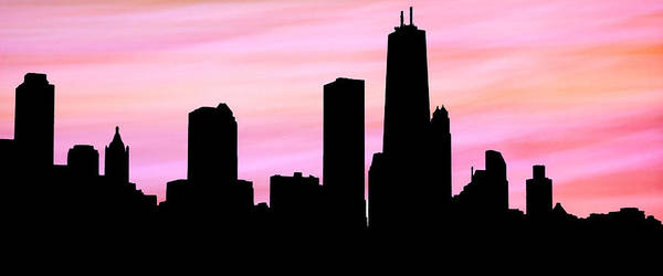 Digital Art - Chicago Skyline Peachy Pink Background by Marilyn Hunt
