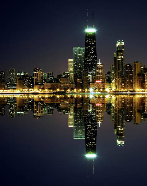 Chicago Skyline Reflected On Lake Art Print by Pawel.gaul