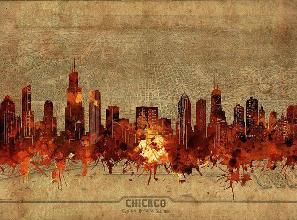 Chicago Skyline Vintage 2 Art Print