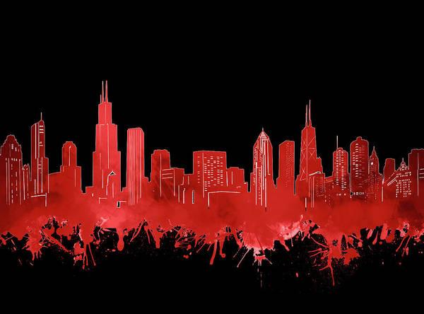 Chicago Skyline Watercolor 5 Art Print