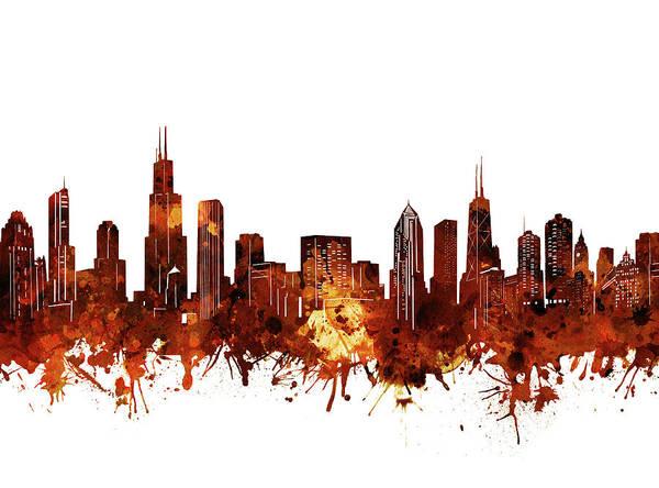 Chicago Skyline Watercolor 6 Art Print