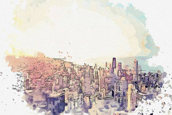 Lake District Painting - Chicago Skyline -  Watercolor By Ahmet Asar by Celestial Images