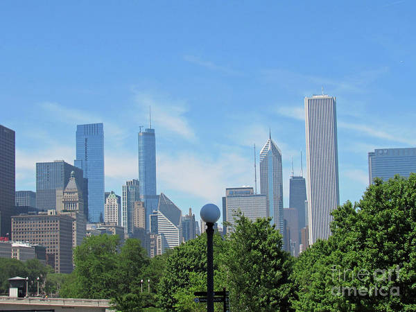 Photograph - Chicago Skyline With A Wispy Sky by Roberta Byram