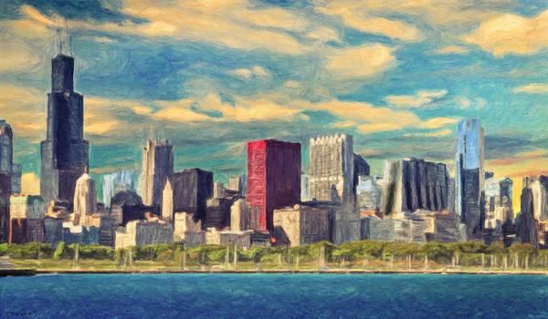 Neighborhood Painting - Chicago Skyline by Zapista Zapista