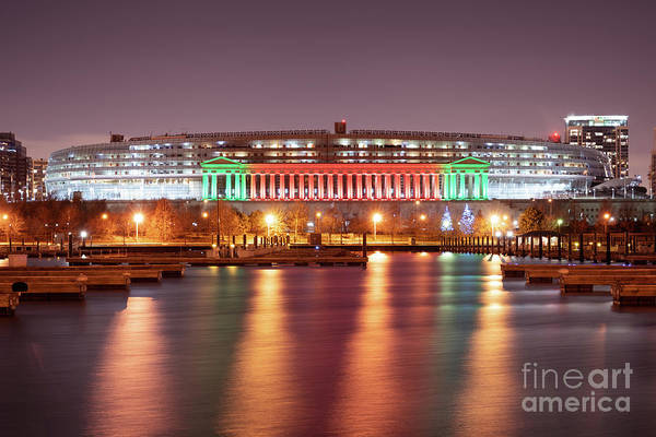 Wall Art - Photograph - Chicago Soldier Field Christmas Red And Green Lights Photo by Paul Velgos