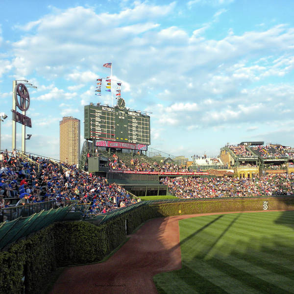 Jon Lester Photograph - Chicago Sports Chicago Cubs Scoreboard 03 Sq Format by Thomas Woolworth