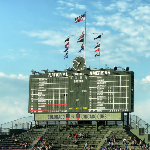 Jon Lester Photograph - Chicago Sports Chicago Cubs Scoreboard Sq Format by Thomas Woolworth
