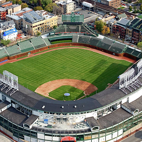 Jon Lester Photograph - Chicago Sports Wrigley Field 02 Sq Format by Thomas Woolworth