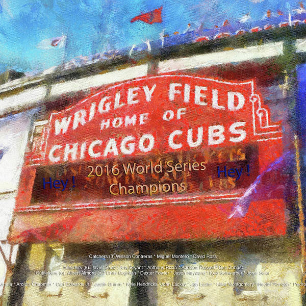 Jon Lester Photograph - Chicago Sports Wrigley Field Cubs World Series Marquee Photo Art Sq Format by Thomas Woolworth