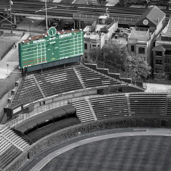 Jon Lester Photograph - Chicago Sports Wrigley Field Scoreboard Sq Format by Thomas Woolworth