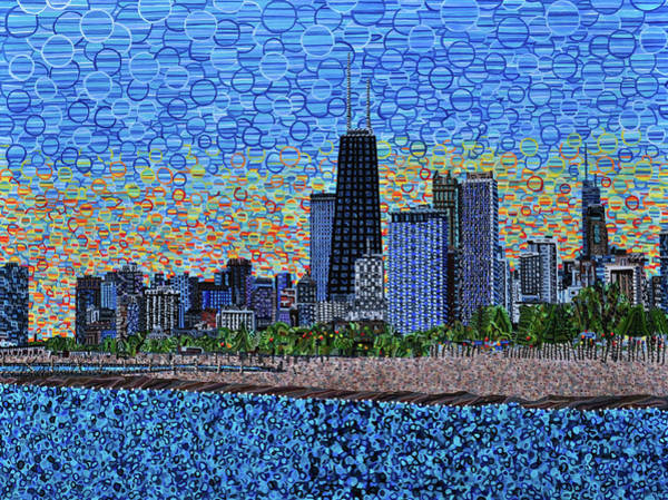 Wall Art - Painting - Chicago Sunset by Micah Mullen