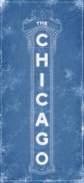 Digital Art - Chicago Theatre Sign - Blueprint by Mark Tisdale