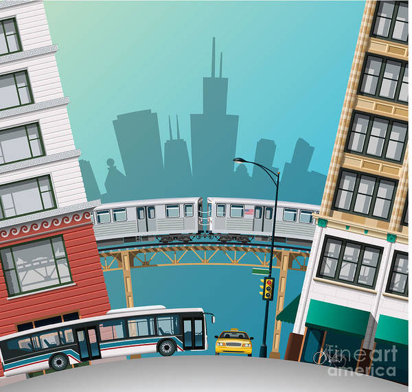 Office Digital Art - Chicago Traffic by Nikola Knezevic