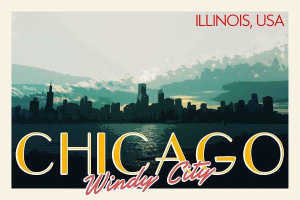 Lake District Painting - Chicago, Usa Travel Poster by Celestial Images