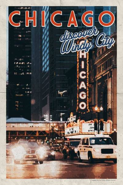 Lake District Painting - Chicago, Usa Travel Poster V13 by Celestial Images