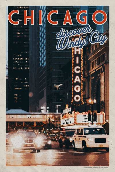 Lake District Painting - Chicago, Usa Travel Poster V13a by Celestial Images
