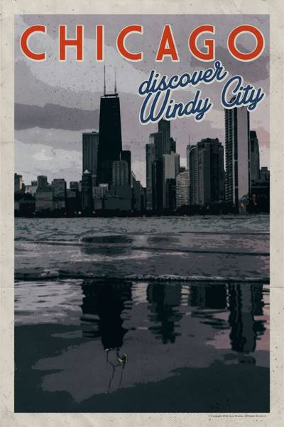 Lake District Painting - Chicago, Usa Travel Poster V14a by Celestial Images